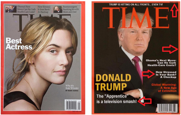 Time magazine hanging in Trump golf clubs is fake